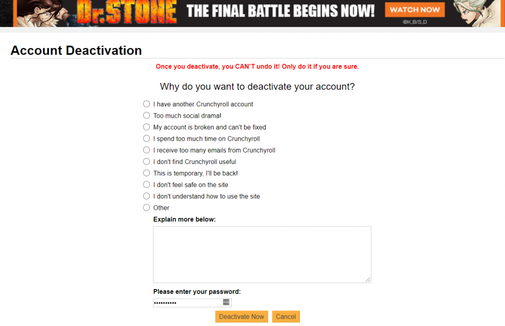 How to Delete your Crunchyroll account when someone dies
