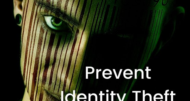 """Sinister looking man with the text """"Prevent Identity Theft After Death"""""""